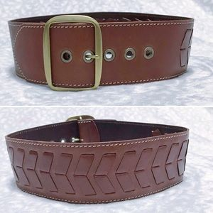 Anthro Wide Belt Linda Pelle Brown Woven Leather